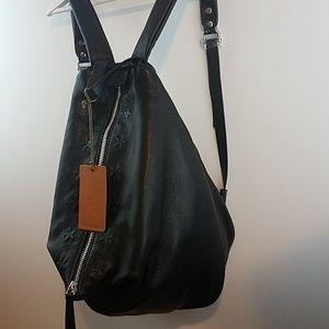 1069938565a Antonio Christiano Bags - Antonio Cristiano Leather Embossed Stars Backpack